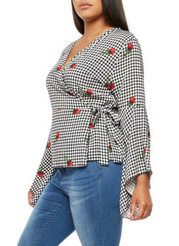 Plus Size Floral Gingham Wrap Top - 3925061350525