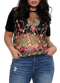 Plus Size Floral Embroidered Mesh T Shirt - 3925061353447
