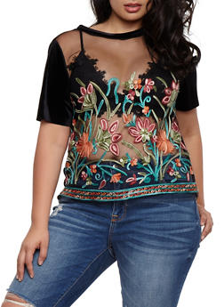 Plus Size Embroidered Mesh and Velvet T Shirt - 3925061353448