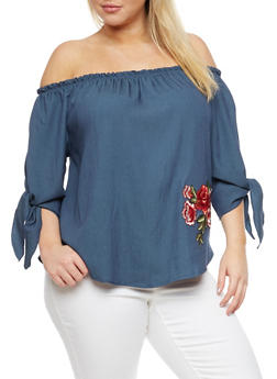 Plus Size Rose Patch Off the Shoulder Top - 3925061353773