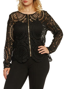 Plus Size Crochet Jacket with Zip Front - 3925064462956