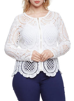 Plus Size Crochet Jacket with Zip Front - WHITE - 3925064462956