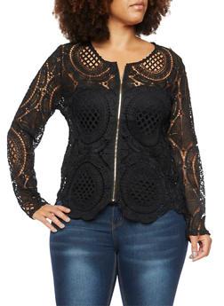 Plus Size Crochet Jacket - 3925064462959