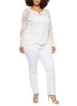 Plus Size Crochet Jacket - WHITE - 3925064462959