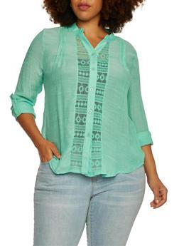 Plus Size Crochet Shirt with Button Front - 3925064463416