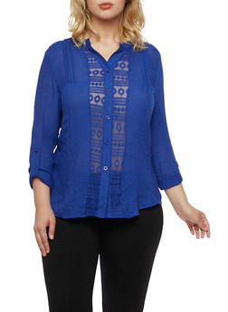 Plus Size Crochet Shirt with Button Front - 3925064463416