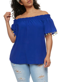 Plus Size Off the Shoulder Crepe Knit Top - 3925065622006