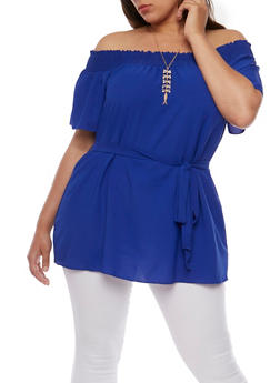 Plus Size Smocked Off the Shoulder Top with Necklace - 3925065623546