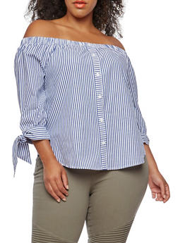 Plus Size Striped Off the Shoulder Top - 3925069391346