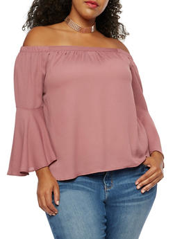 Plus Size Off the Shoulder Top with Bell Sleeves - 3925069391378