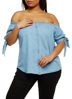 Plus Size Off the Shoulder Denim Top with Tie Sleeves - 3925069395099