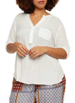 Plus Size Semi Sheer Top with Bust Pocket - 3925069397438