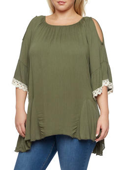 Plus Size Cold Shoulder Top with Crochet Bell Sleeves - 3925073461100