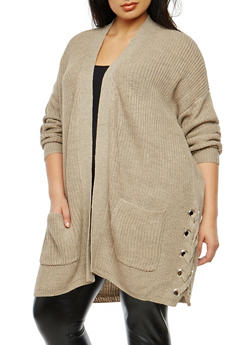 Plus Size Lace Up Side Knit Cardigan - 3926015997222
