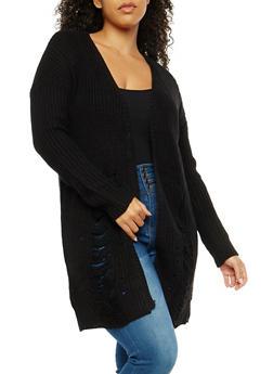 Plus Size Slashed Knit Cardigan - 3926015999350
