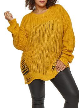 Plus Size Long Slashed Knit Sweater - 3926062702705
