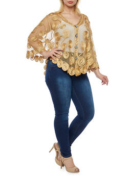 Plus Size Embroidered Mesh Poncho with Buttons - 3926073353330