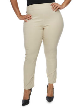 Plus Size Solid Pull On Ankle Pants - 3928062416527