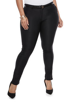 Plus Size Skinny Belted Pants - 3928062701551