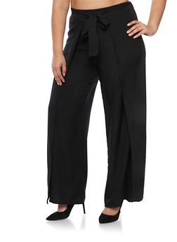 Plus Size Palazzo Wrap Pants - 3928062701761