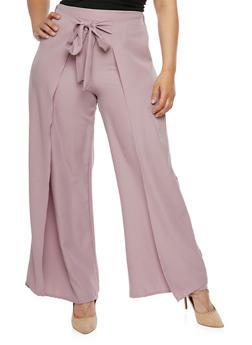 Plus Size Palazzo Wrap Pants - MAUVE - 3928062701761