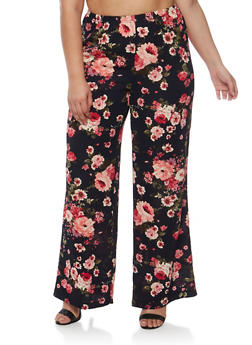 Plus Size Printed Palazzo Pants - NAVY FLORAL - 3928068511455