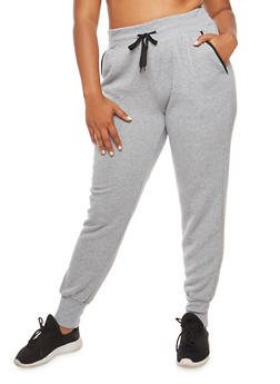 Plus Size Contrast Trim Fleece Joggers - 3928072291671