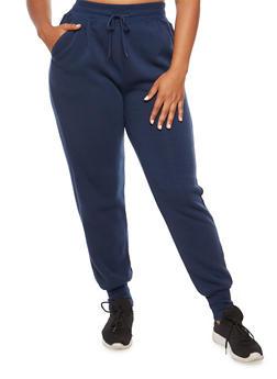Plus Size Contrast Trim Fleece Sweatpants - 3928072291671