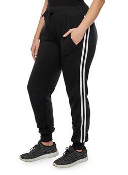 Plus Size Varsity Stripe Joggers - BLACK - 3928072291691