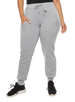 Plus Size Solid Sweatpants - 3928072291761