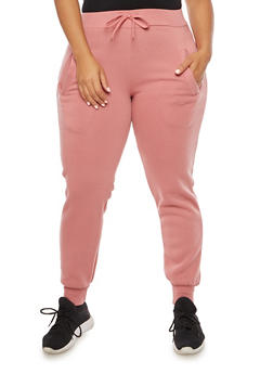 Plus Size Solid Joggers - 3928072291761