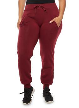 Plus Size Solid Sweatpants - 3928072291761