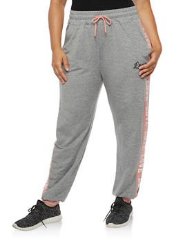 Plus Size Love Graphic Joggers - 3928072291921