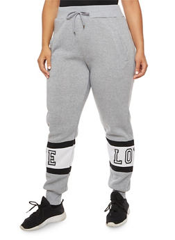 Plus Size Love Graphic Joggers - 3928072292111