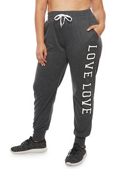 Plus Size Solid Love Joggers - 3928072295656
