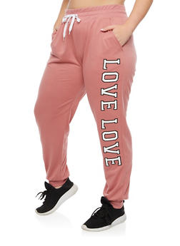Plus Size Solid Love Graphic Sweatpants - 3928072295656