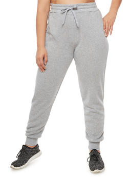 Plus Size Solid Joggers - 3928072298785