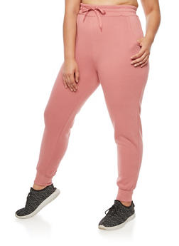 Plus Size Solid Fleece Sweatpants - 3928072298785