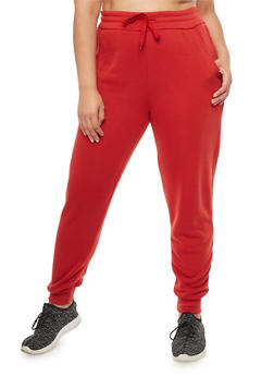 Plus Size Solid Fleece Sweatpants - 3928072298785