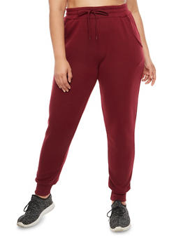 Plus Size Solid Joggers - BURGUNDY - 3928072298785