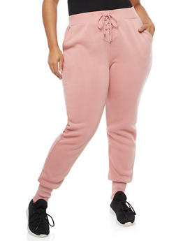 Plus Size Lace Up Joggers - 3928072299634