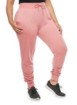 Plus Size Ruched Jogger Pants - 3928072299668