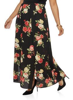 Plus Size Floral Crepe Knit High Slit Maxi Skirt - 3929054213106