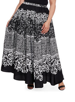 Plus Size Printed Maxi Skirt - 3929056126980