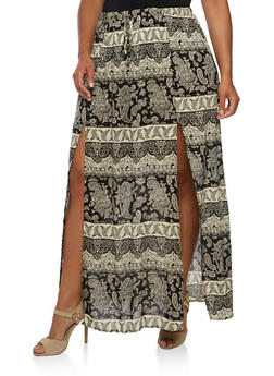 Plus Size Printed Maxi Skirt - BLACK - 3929061354207