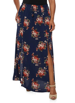 Plus Size Printed Maxi Skirt - 3929061354207