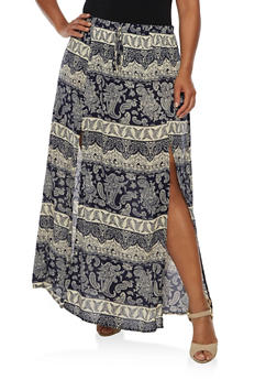 Plus Size Printed Maxi Skirt - INDIGO - 3929061354207