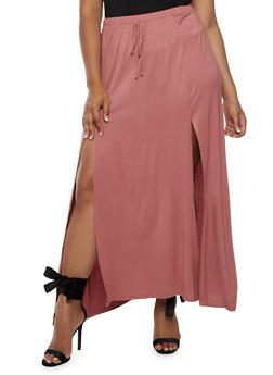 Plus Size Solid Maxi Skater Skirt - 3929061354212