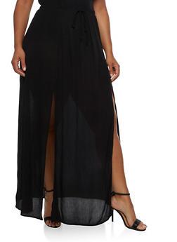 Plus Size Gauze Knit Maxi Skirt - 3929061357204
