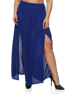 Plus Size Gauze Knit Maxi Skirt - 3929061357204